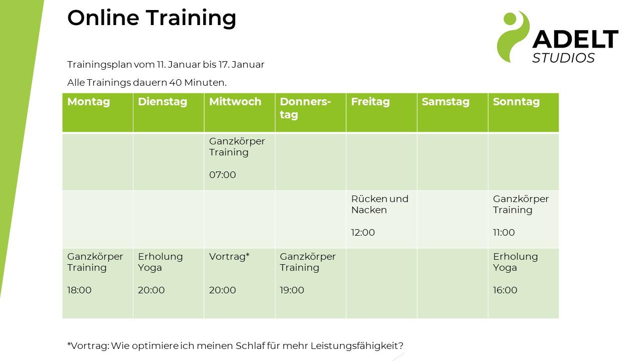 Online Trainingsplan 11.Januar bis 17.Januar